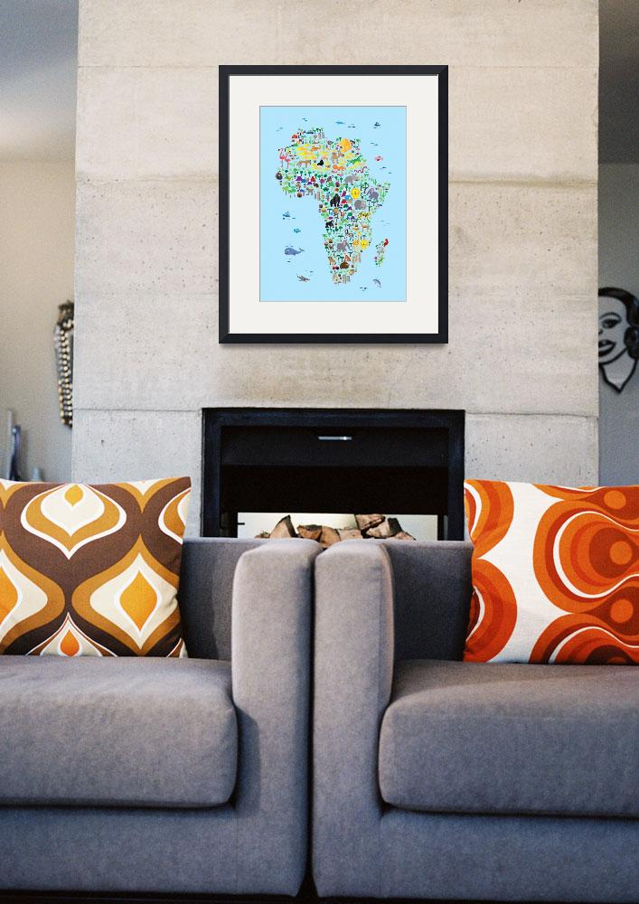 """""""Animal Map of Africa for children and kids&quot  (2016) by ModernArtPrints"""