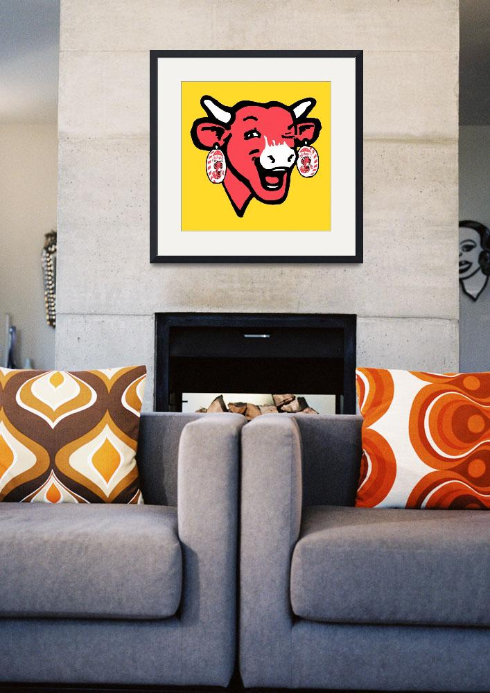 """""""The Laughing Cow Pop 1 - Pink on Yellow&quot  (2015) by peterpotamus"""