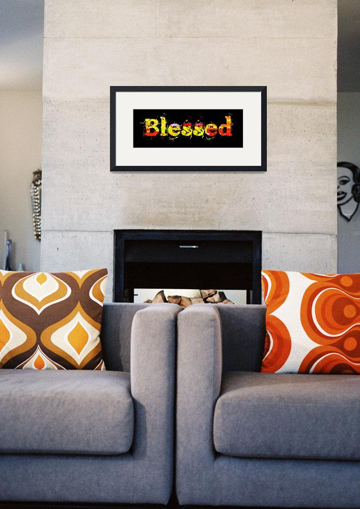 """""""blessed old print color block on black""""  by lizmix"""