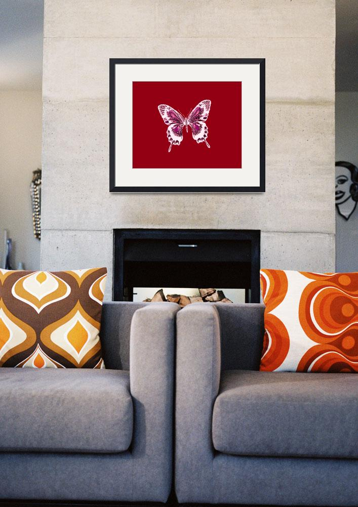 """""""Glowing Violet White Butterfly Burnt Orange Backgo&quot  (2013) by TheNorthernTerritory"""