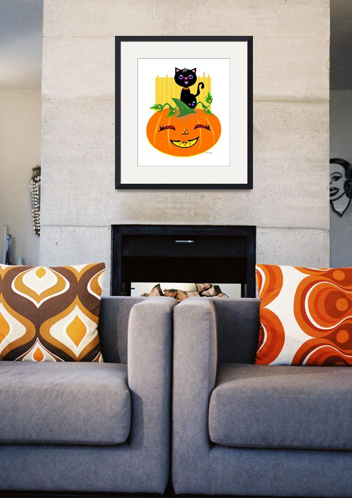 """Halloween Pumpkin and Black Cat&quot  (2011) by theblueplanet"