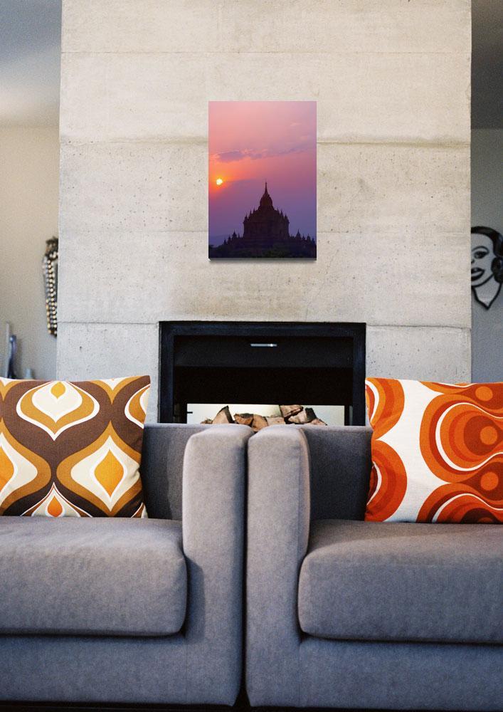 """Sunrise Over Stupa Temple In Bagan, Myanmar, Burma""  by DesignPics"