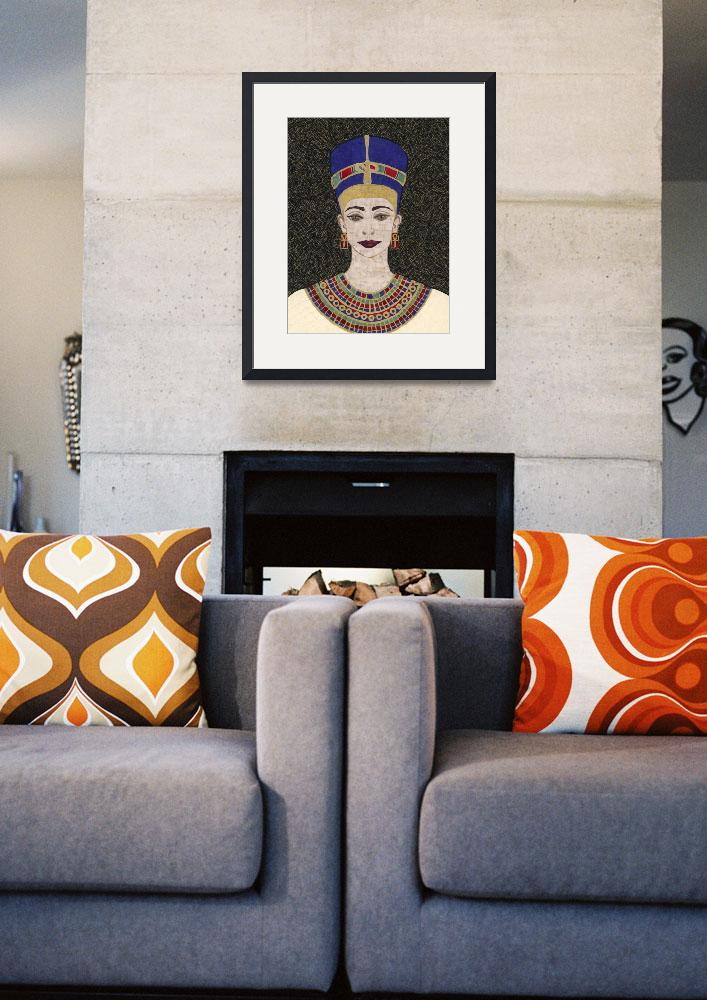"""""""Queen Nefertiti - fabric mosaic""""  (2005) by RemnantWorks"""