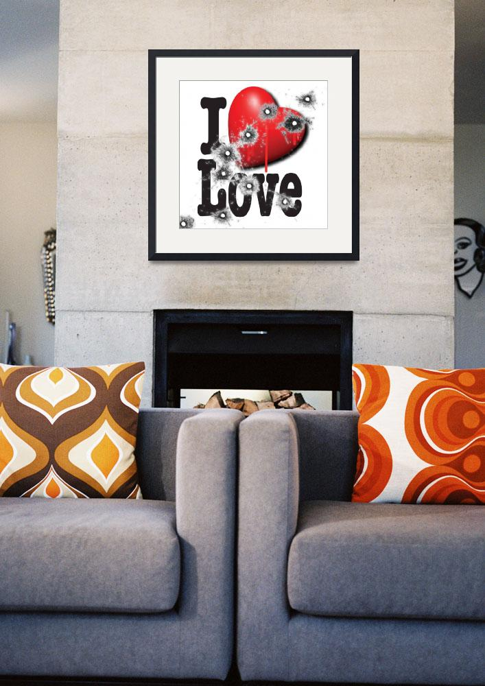 """""""Heart Series Love Bullet Holes In Paintings&quot  (2018) by RubinoFineArt"""