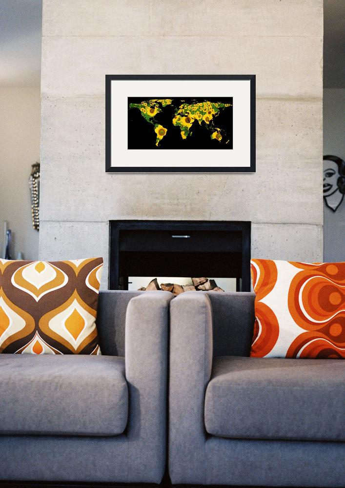 """""""World Map Silhouette - Sunflowers""""  by Alleycatshirts"""