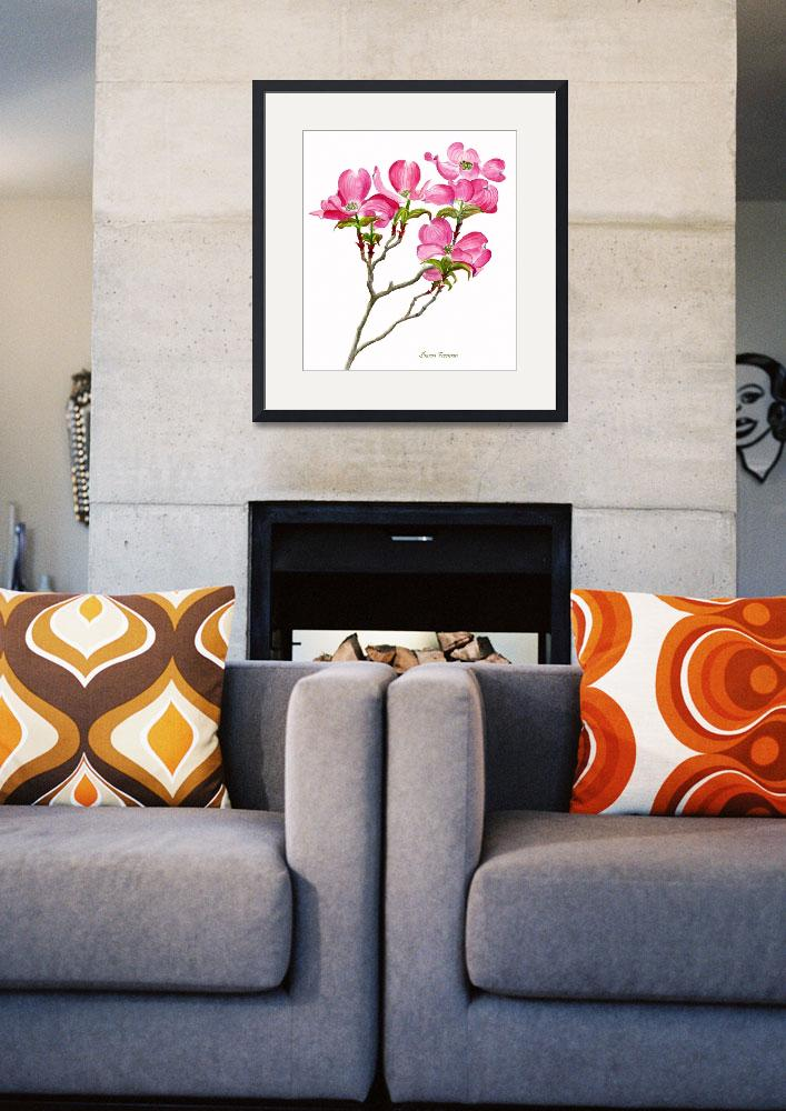 """""""Pink Dogwood white background (vertical design)&quot  (2009) by Pacific-NW-Watercolors"""