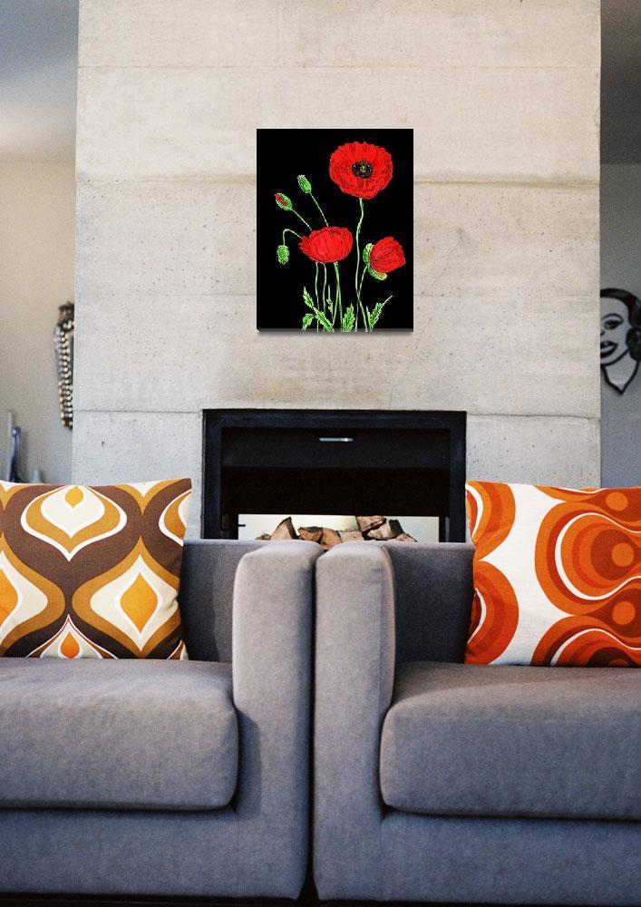 """Red Poppies Flower Watercolor On Black""  (2018) by IrinaSztukowski"