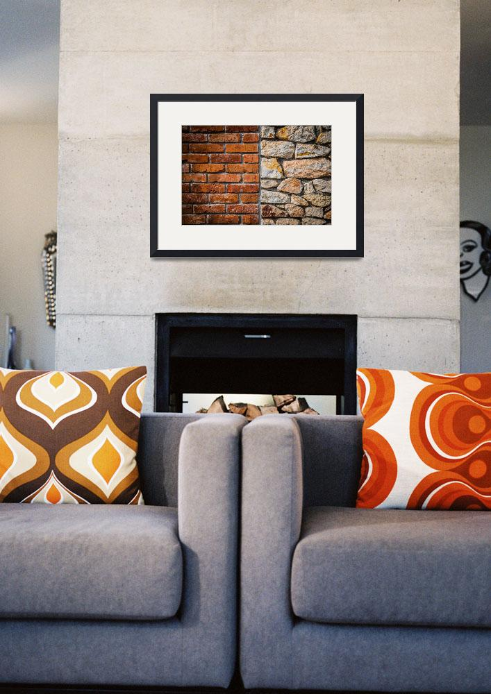 """""""Red brick wall and stone wall background""""  (2017) by creative_photography"""