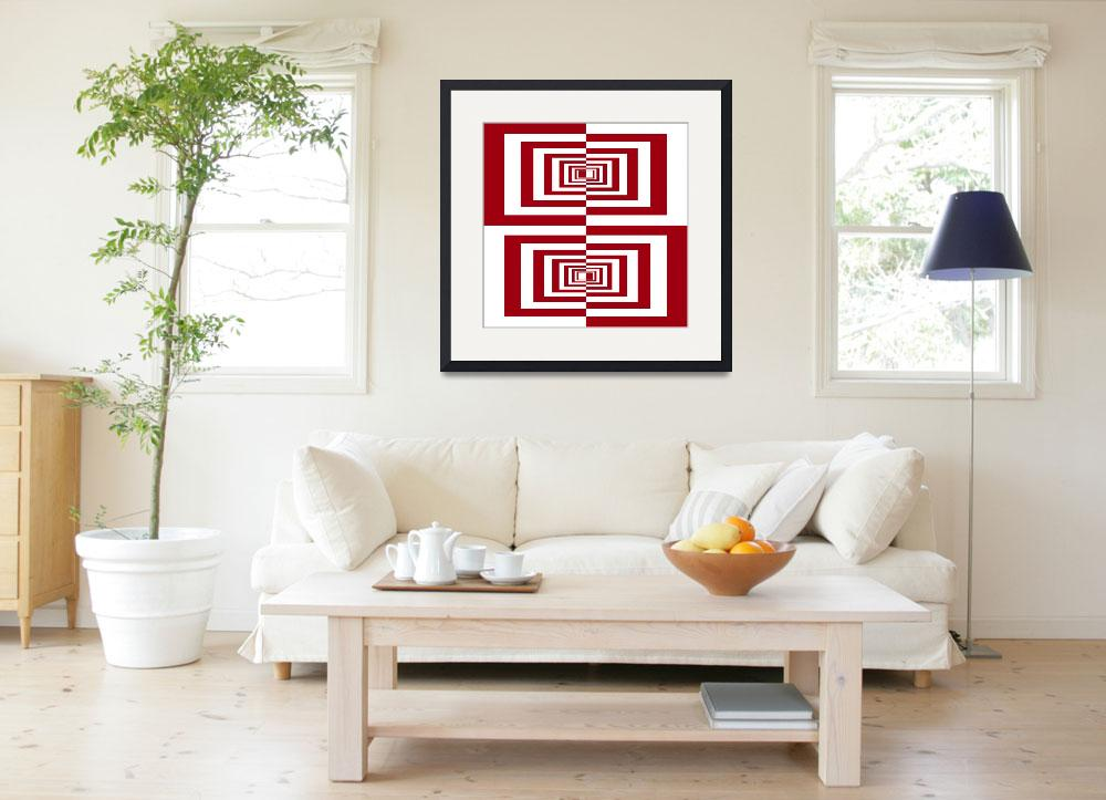 """""""Red And White Geometric Rectangles&quot  (2014) by MargitBrack"""