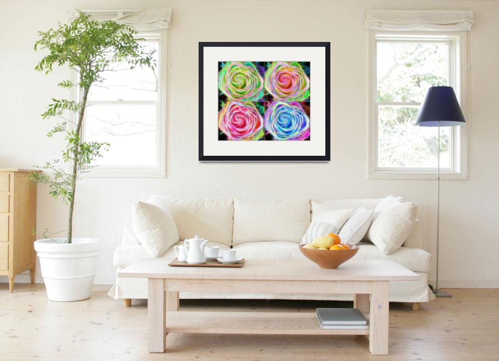 """""""Four Colorful Electrify Roses&quot  (2015) by lightningman"""