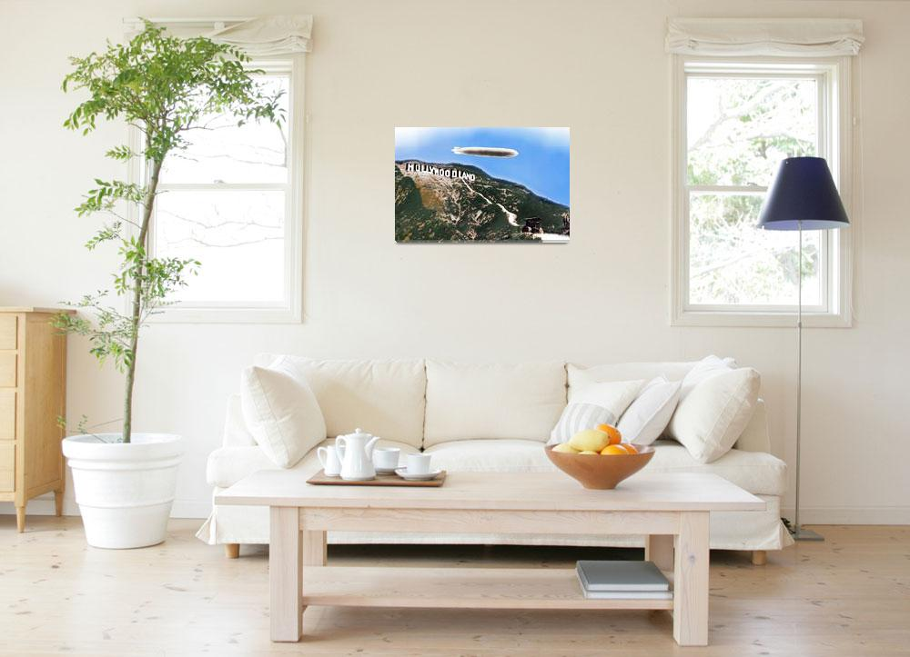 """""""Hollywood Sign and Blimp""""  (2013) by RubinoFineArt"""