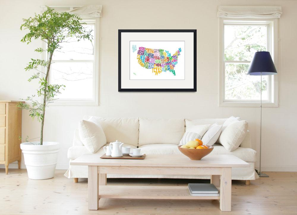 """""""United States Text Map&quot  (2010) by ModernArtPrints"""