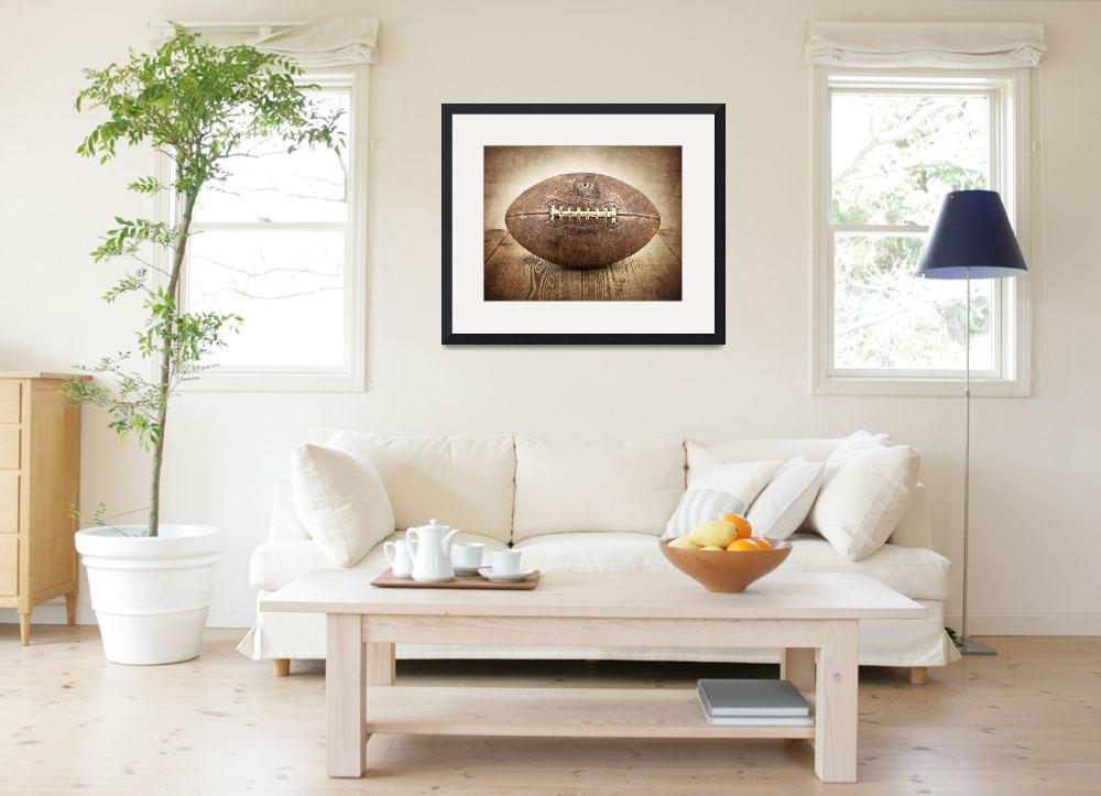 """Vintage 1950s Football on Wood&quot  (2012) by shawnstpeter"