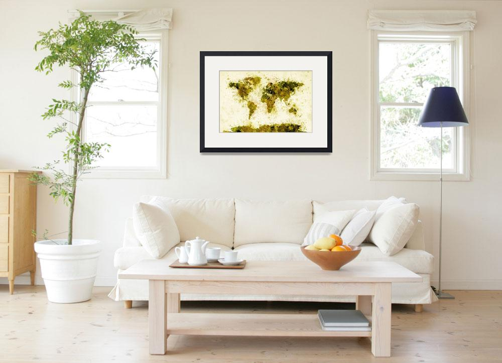 """World Map Paint Splashes Yellow&quot  (2011) by ModernArtPrints"