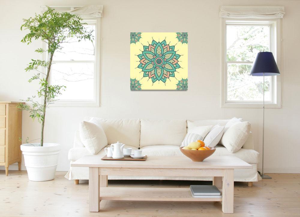 """""""Ink Toned Flower Mandala Yellow Orange Green""""  (2019) by ImageMonkey"""