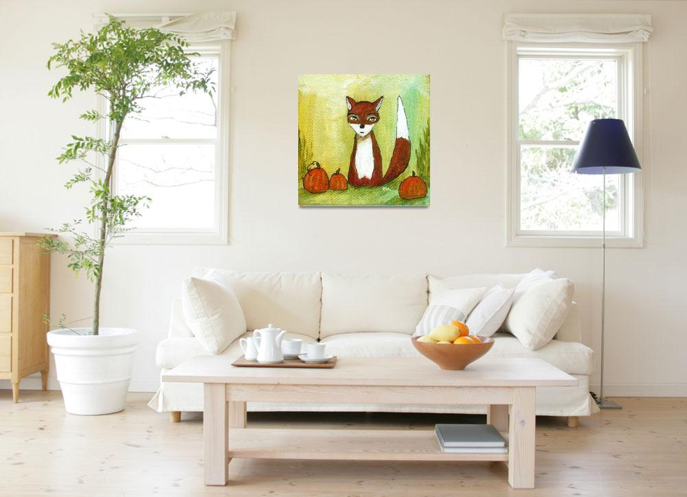 """""""Making Choices,Fox and Pumpkins,Abstract Landscape&quot  (2012) by Itaya"""