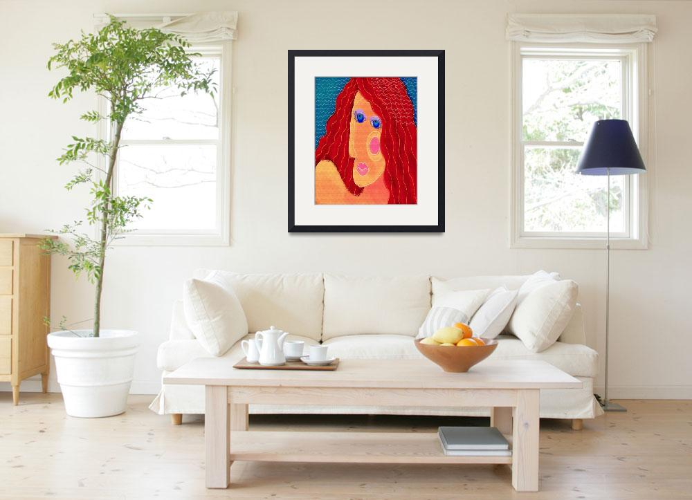 """""""Abstract Woman with Red Hair Digital Portrait""""  (2015) by jackieludtke"""