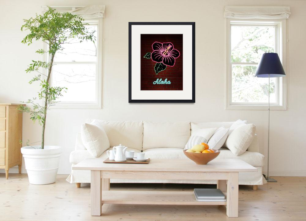 """""""Neon Red Hibiscus Flower TEXT ALOHA&quot  (2017) by ElainePlesser"""