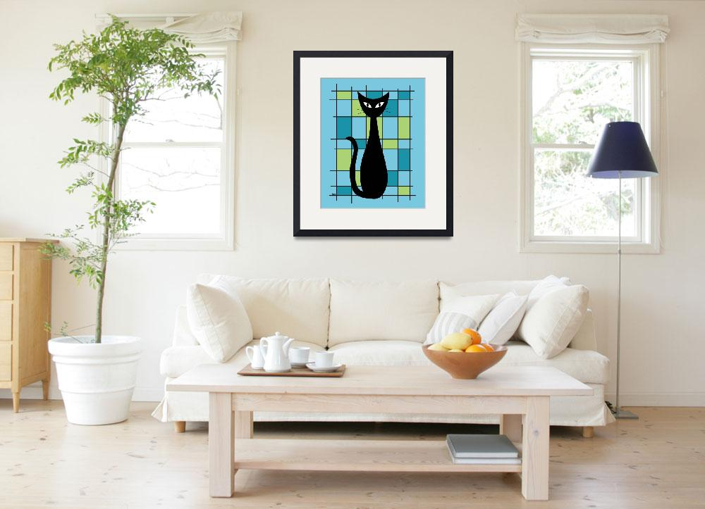 """""""Abstract with Cat in Blue""""  by DMibus"""
