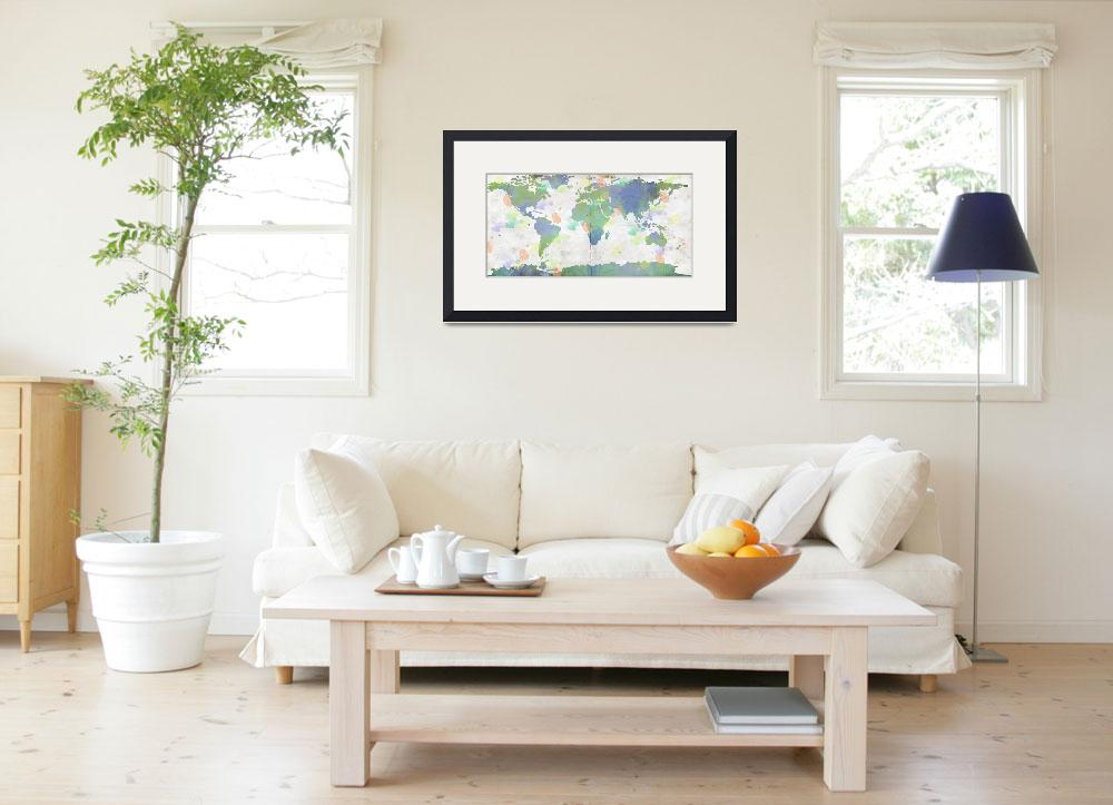 """""""World Map Watercolor 4&quot  by WrightFineArt"""
