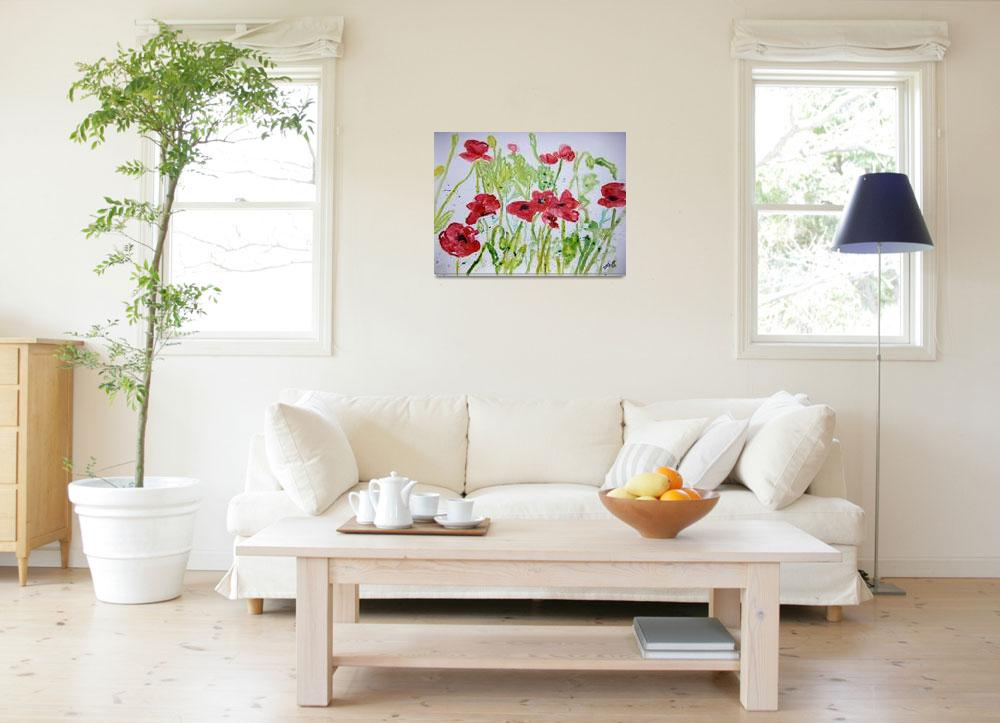 """poppy flower yupo painting""  (2008) by derekmccrea"