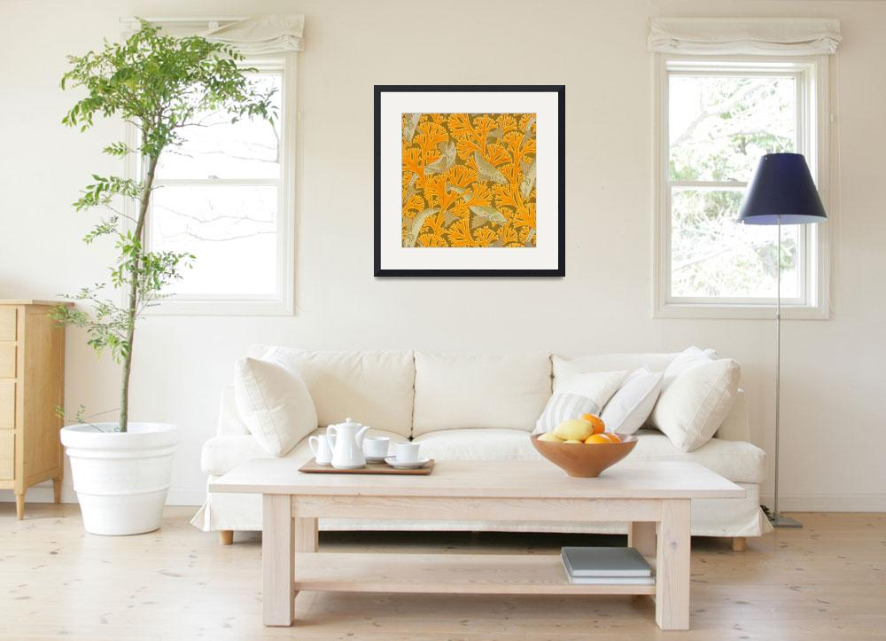 """""""Vintage Art Deco Fish and Yellow Coral Design""""  by Alleycatshirts"""