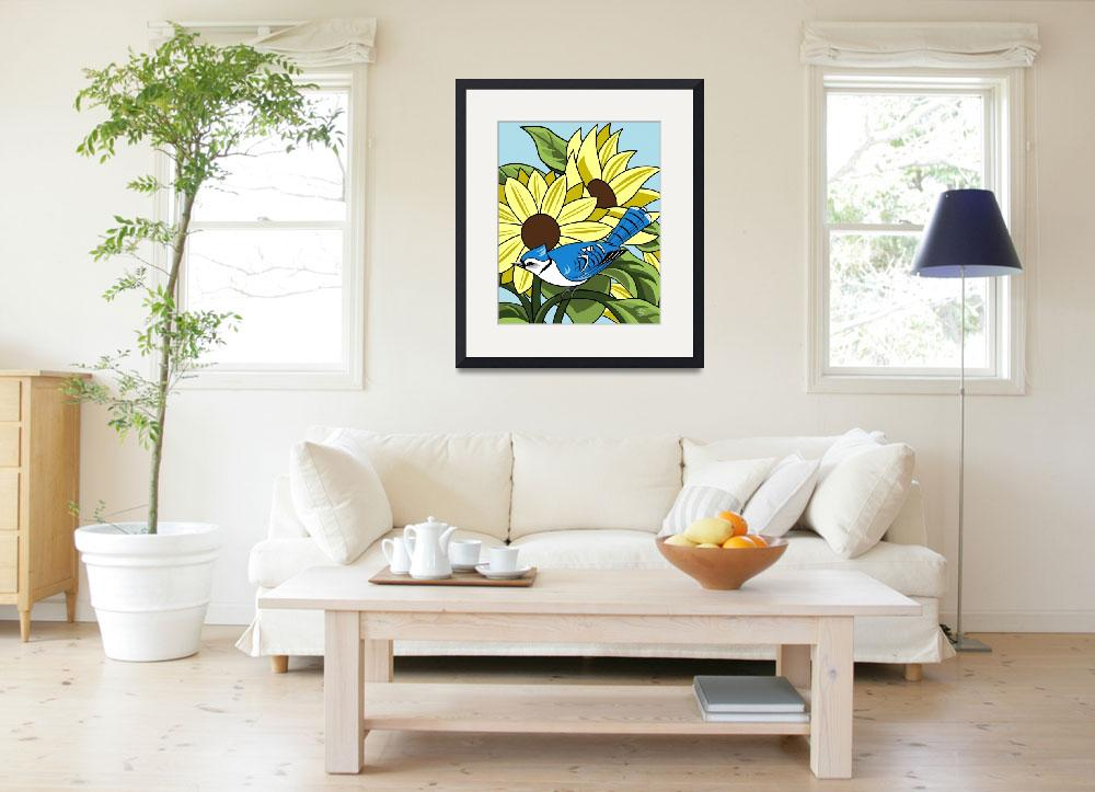 """Sunflowers and BlueJay&quot  by waterart"