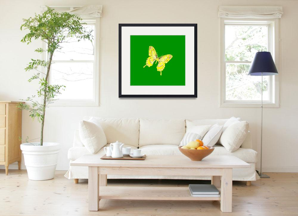 """""""Yellow Butterfly Green Background 2&quot  (2013) by TheNorthernTerritory"""