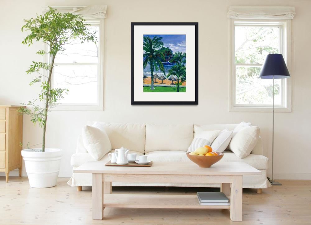 """""""Beach, Palms and Palapas in Huatulco Mexico Print""""  (1998) by KeatingArt"""