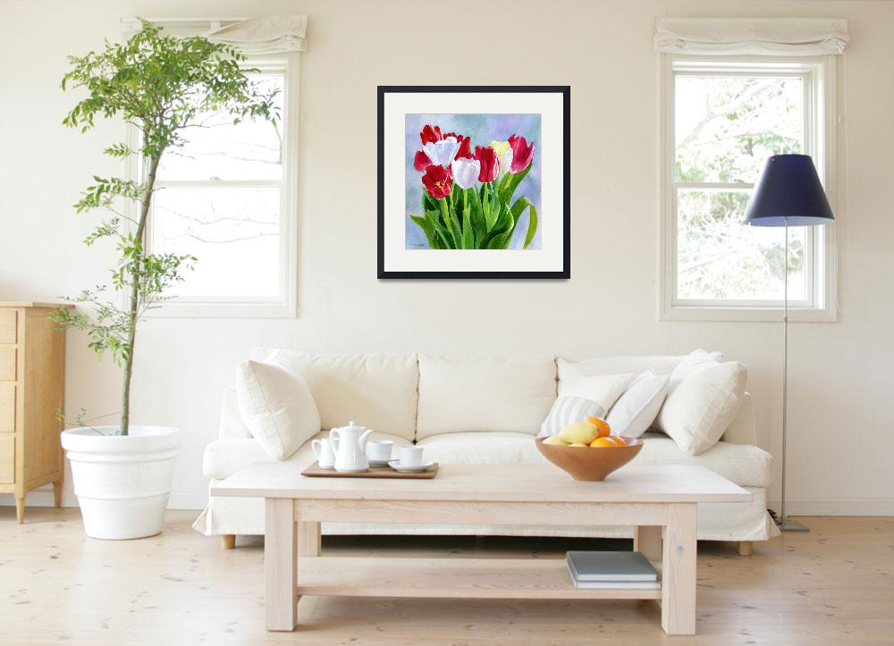 """Red and White Tulip Bouquet Blue Gray Background""  (2009) by Pacific-NW-Watercolors"