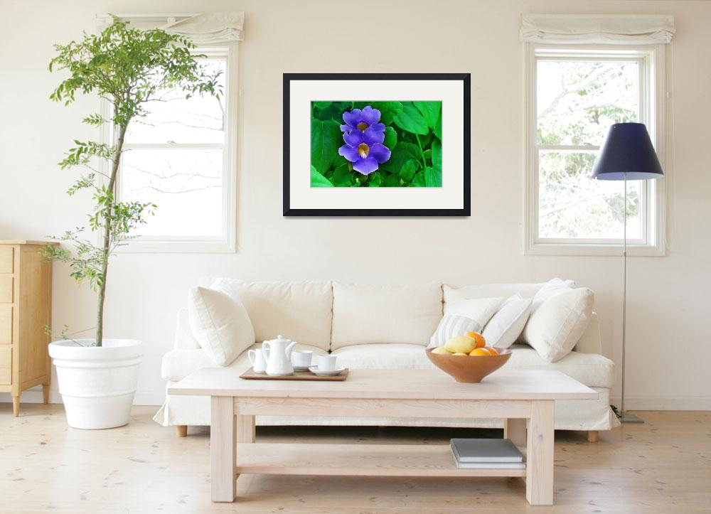 """Blue Flowers on Green Leaf Background&quot  (2012) by charker"