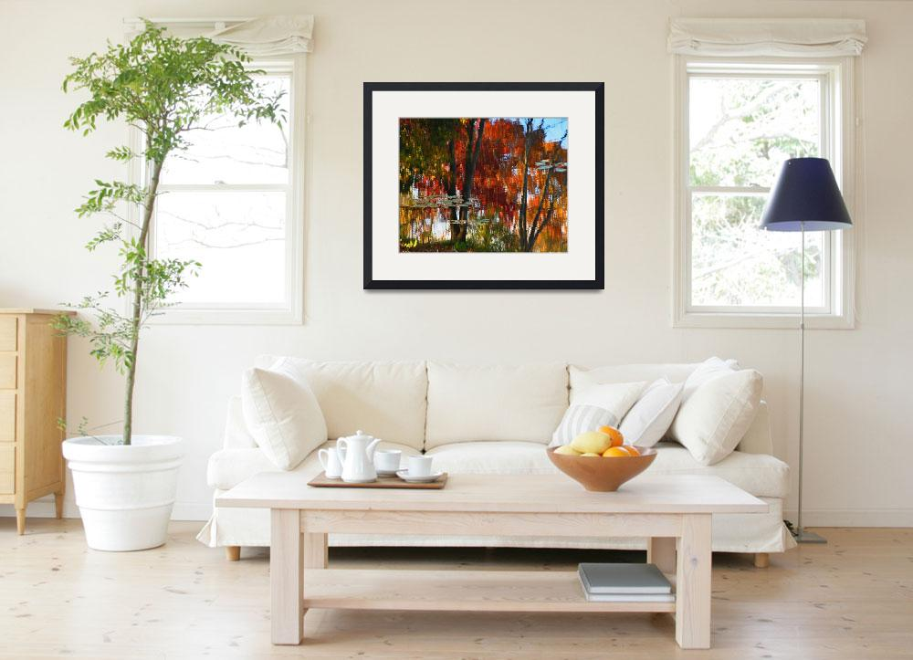 """""""Hayes Pond Fall Reflection&quot  (2012) by bavosiphotoart"""