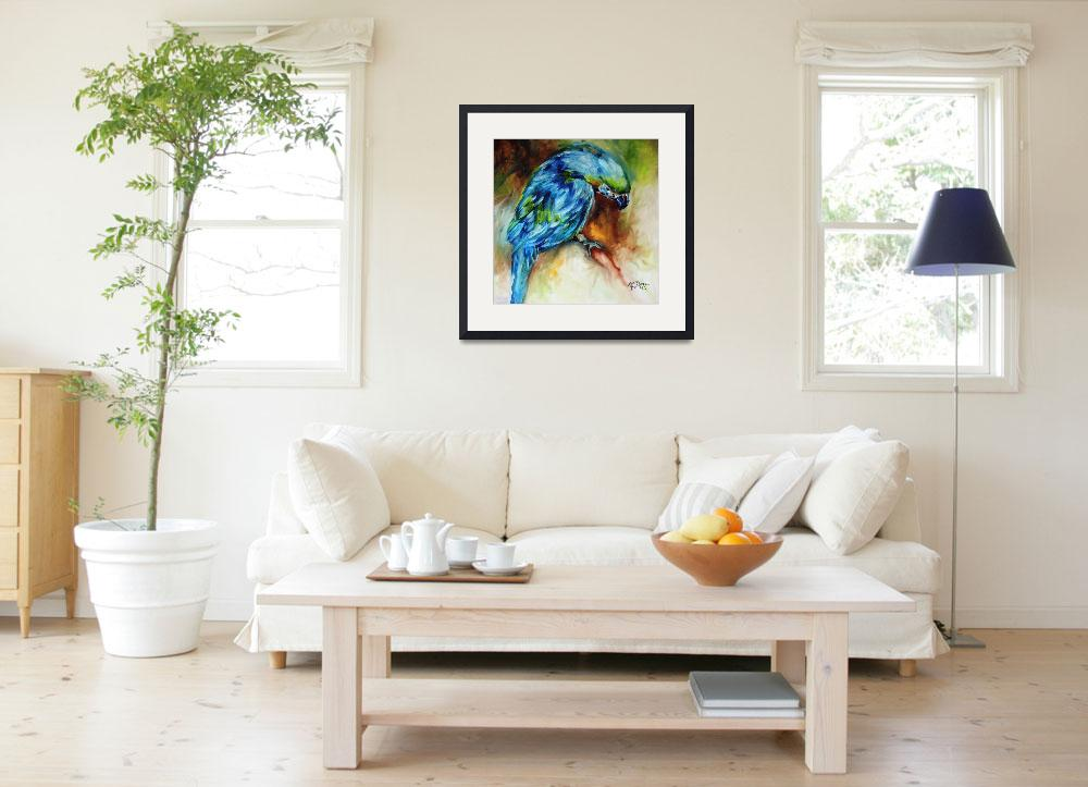 """""""AZURE BLUE PARROT ABSTRACT&quot  (2011) by MBaldwinFineArt2006"""