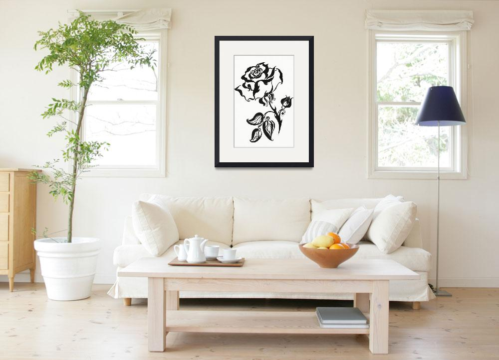 """Ink Drawing Chinese Rose&quot  (1980) by JennyRainbow"