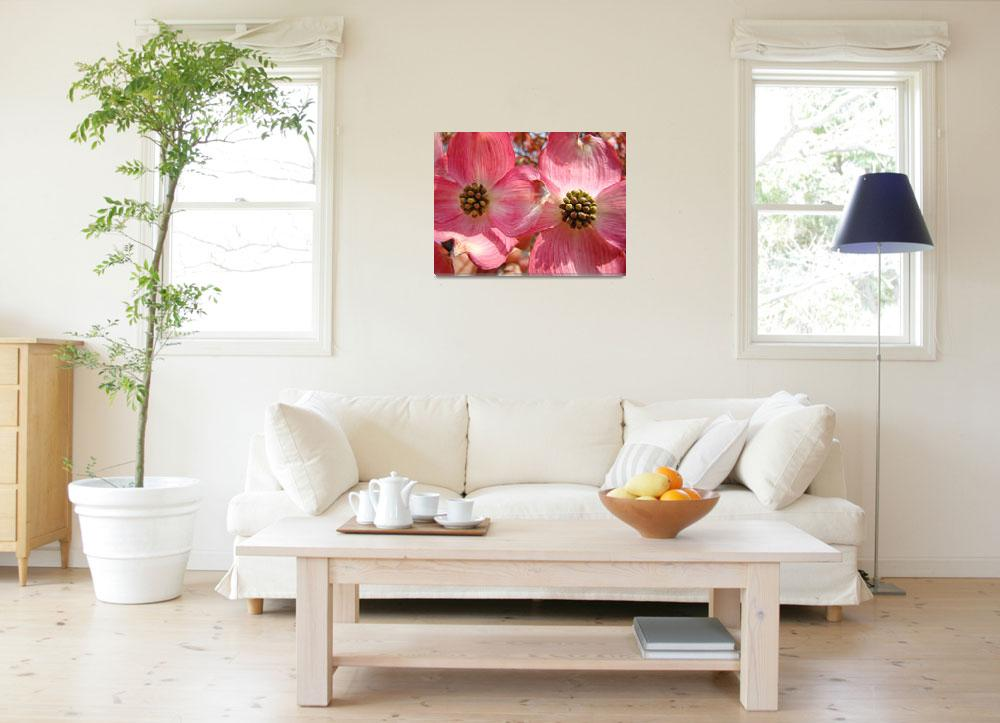 """Beautiful Pink Dogwood Flowers art print Floral""  (2010) by BasleeTroutman"
