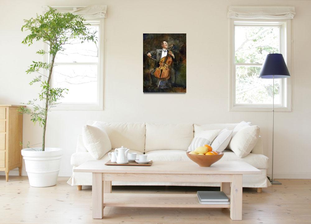 """The Joy of Cello, Yo Yo Ma Portrait Watercolor&quot  (2010) by schulmanart"
