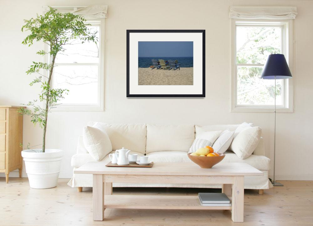"""""""Beach Chairs On Cape Cod Bay&quot  (2007) by WJP"""