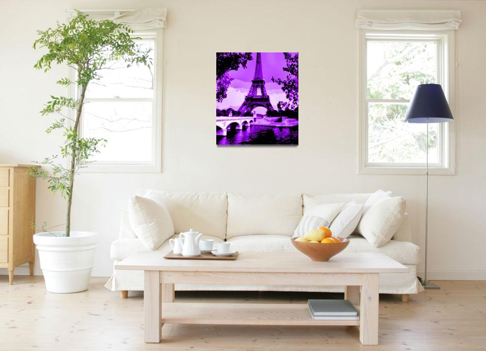 """""""Eiffel Tower Seine River Enhanced Violet Cropped&quot  (2013) by TheNorthernTerritory"""