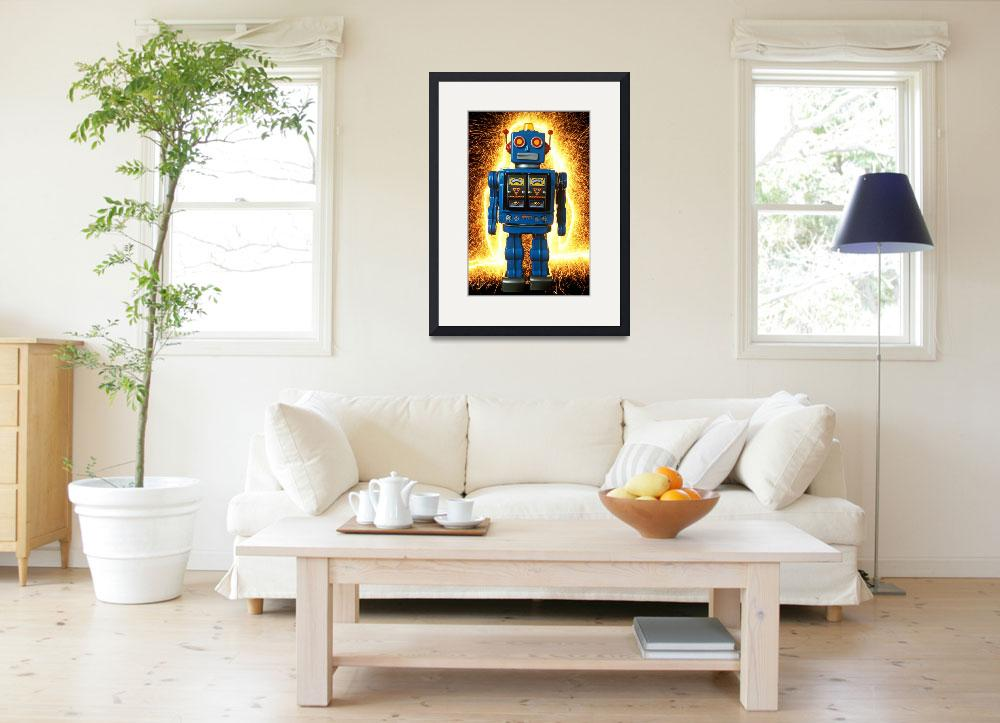 """""""Blue robot with sparks&quot  (2012) by photogarry"""