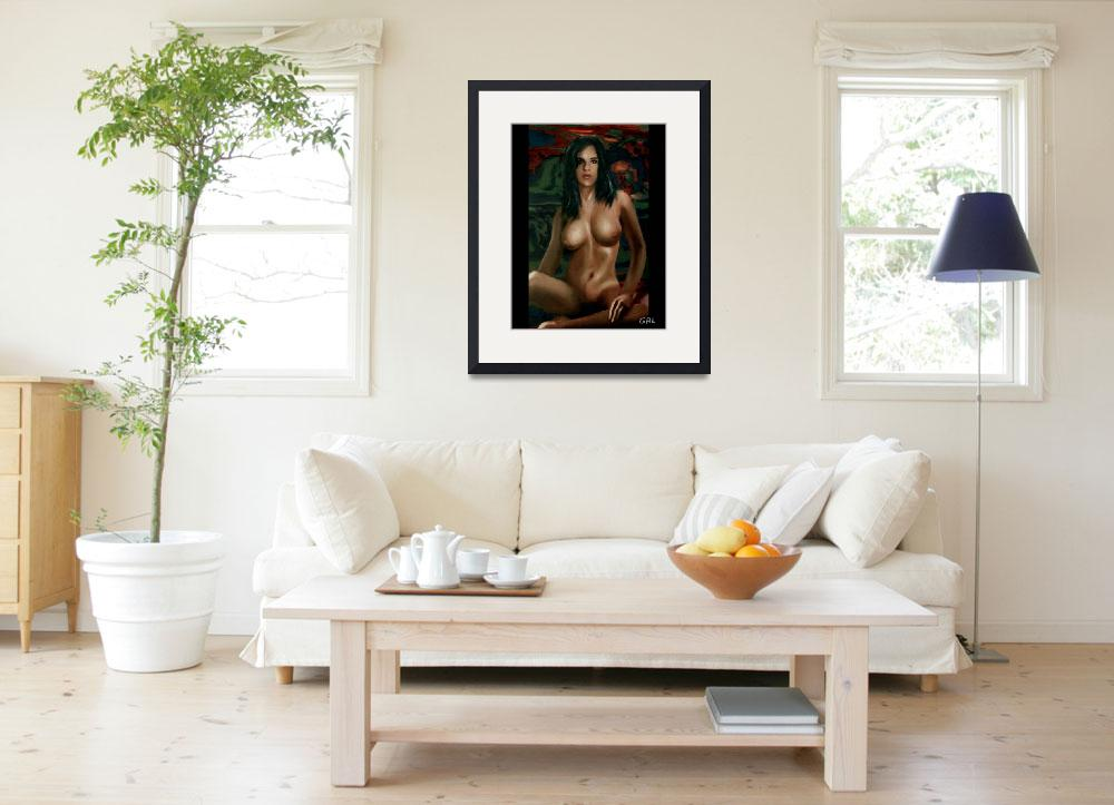 """""""Fine Art Nude Female Painting Sara Seated&quot  by grl"""