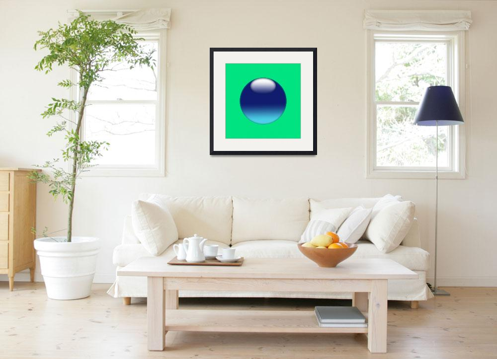 """""""Blue sphere on light green background copia&quot  (2010) by Bayardo"""