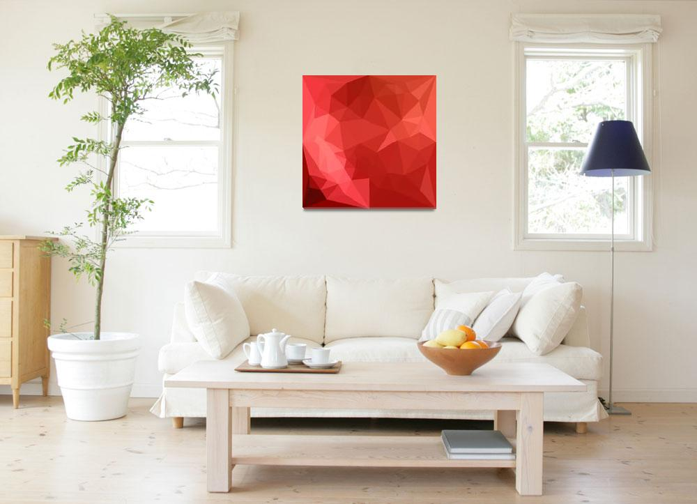 """""""Tomato Red Abstract Low Polygon Background""""  (2016) by patrimonio"""