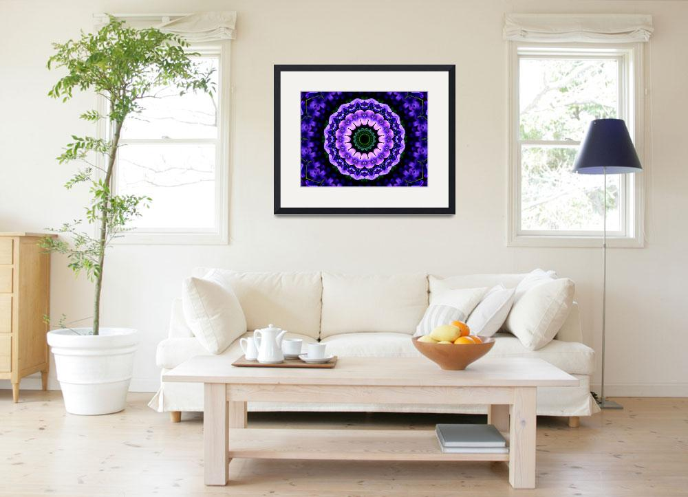 """Purple & Blue Flower Kaleidoscope Mandala&quot  by TigerLynx"