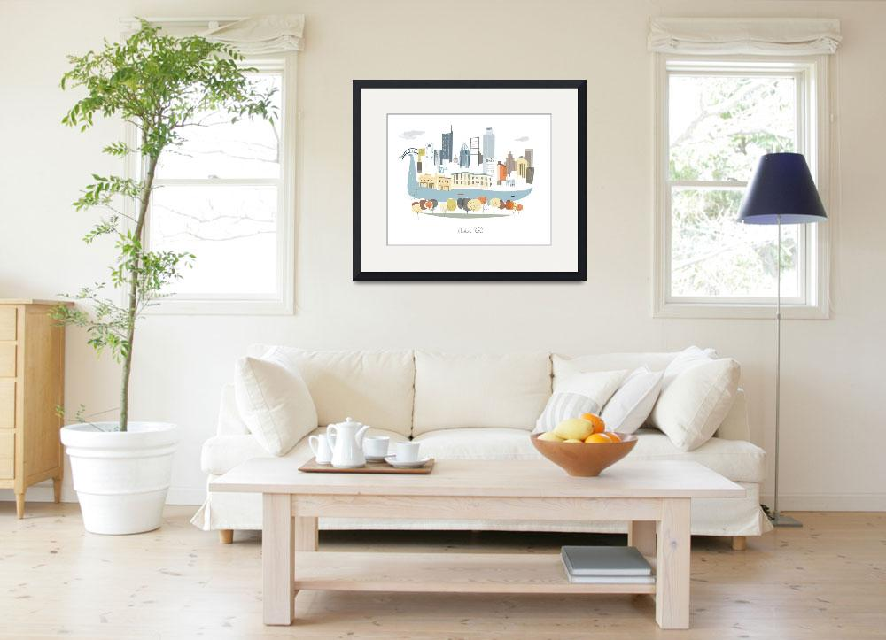 """""""Austin Modern Cityscape Illustration&quot  by AlbieDesigns"""