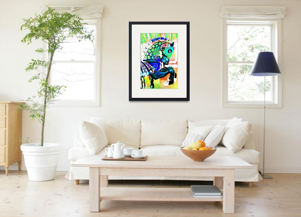 """""""Carousel Turquoise Horse&quot  (2012) by psovart"""