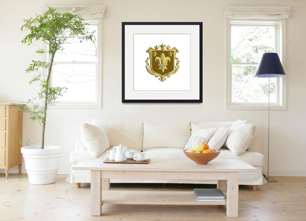 """Fleur de lis Coat of Arms Gold Crest Retro&quot  (2016) by patrimonio"
