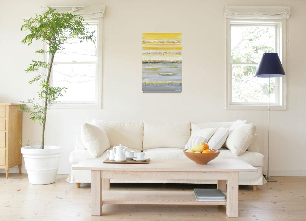 """""""""""Summer Reflections"""" Yellow Grey Abstract&quot  (2014) by ChristineKrainock"""