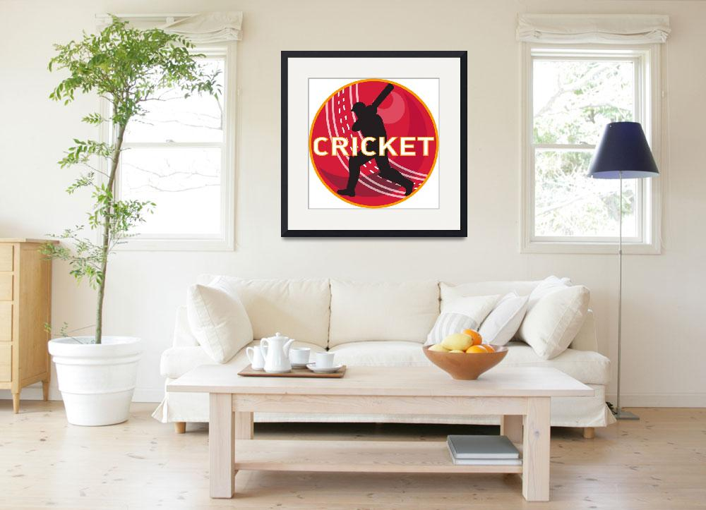 """cricket player batsman sports ball&quot  (2013) by patrimonio"