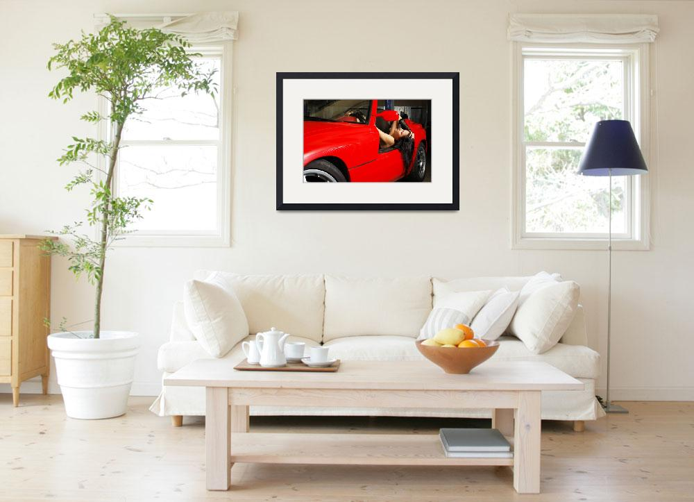 """Woman resting in the red car""  (2012) by olegmit"