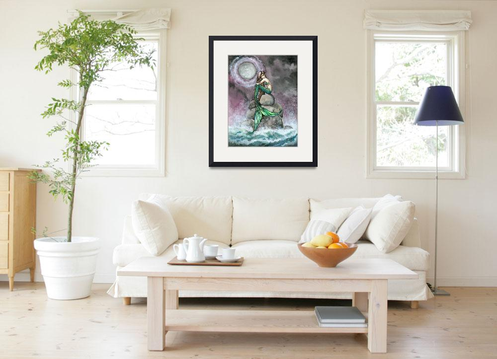 """""""Emerald Mermaid Fantasy Art Print by Molly Harriso&quot  (2007) by robmolily"""